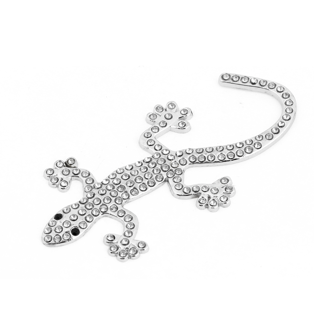 Silver Tone Faux Rhinestone Adorn Metal Gecko Design Sticker for Car