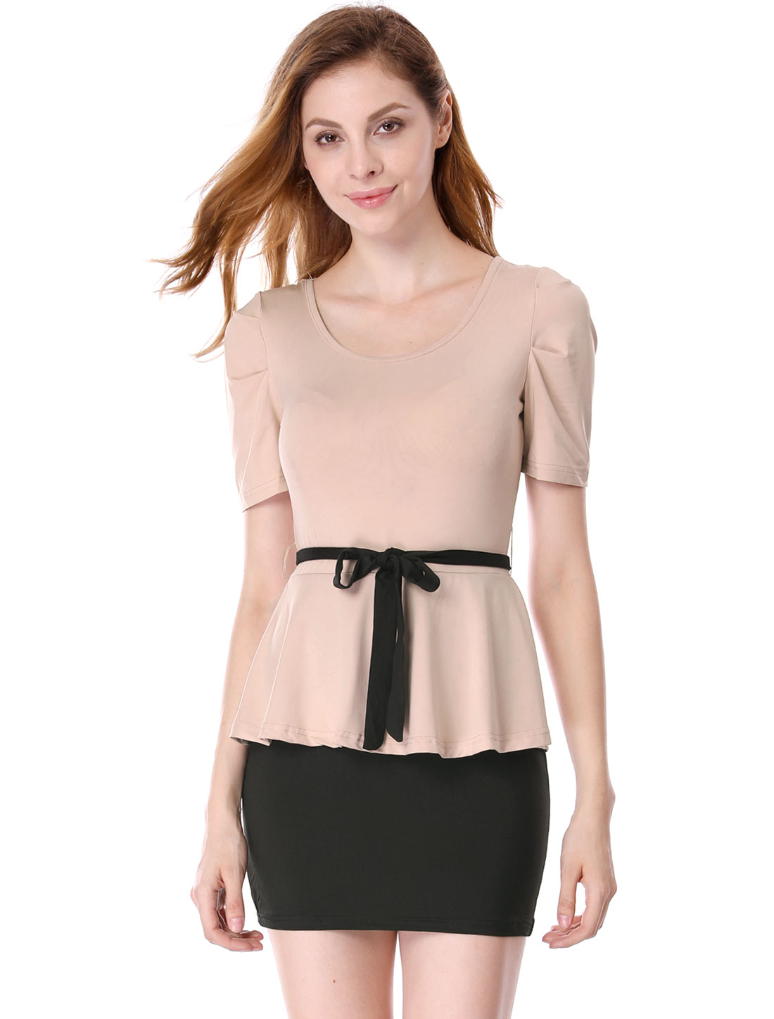 Ladies Scoop Neck Short Puff Sleeve Chic Pink Black Peplum Min Dress S