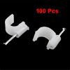 Wall Mount 8mm Diameter White Plastic Circle Cable Nail Clips 100 Pcs