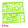 2 Pcs Clear Green Circle Triangle Square Rectangle Template Drawing Ruler Guide