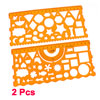 2 Pcs Clear Orange Various Pattern Stationery Template Drawing Rulers