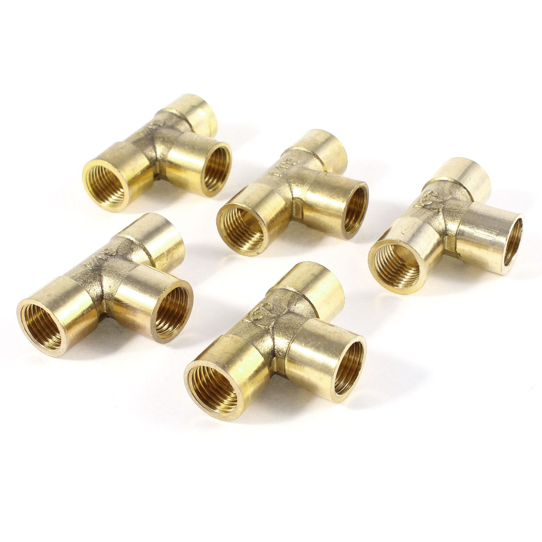 "5Pcs Brass Tee Shaped 3 Way 1/4""PT to 1/4""PT Female Pipe Fitting Coupling"
