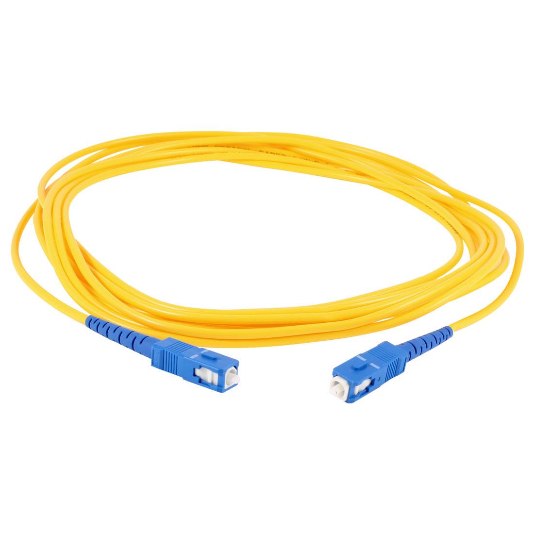 Yellow SC to SC SM Simplex 9/125 Fiber Optic Jumper Cable 3.0 5Meter