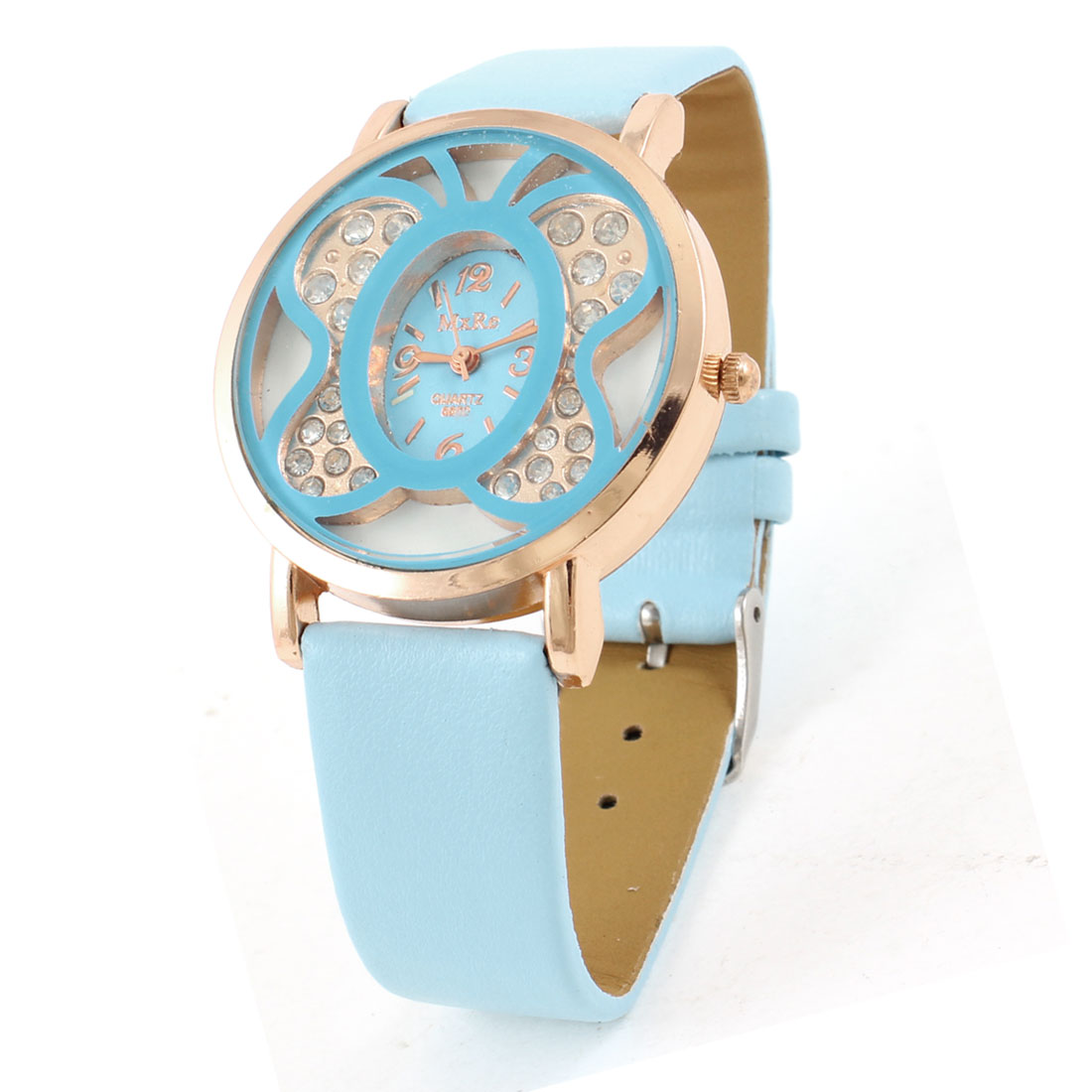 Light Blue Faux Leather Wristband Butterfly Shaped Dial Wrist Watch for Lady