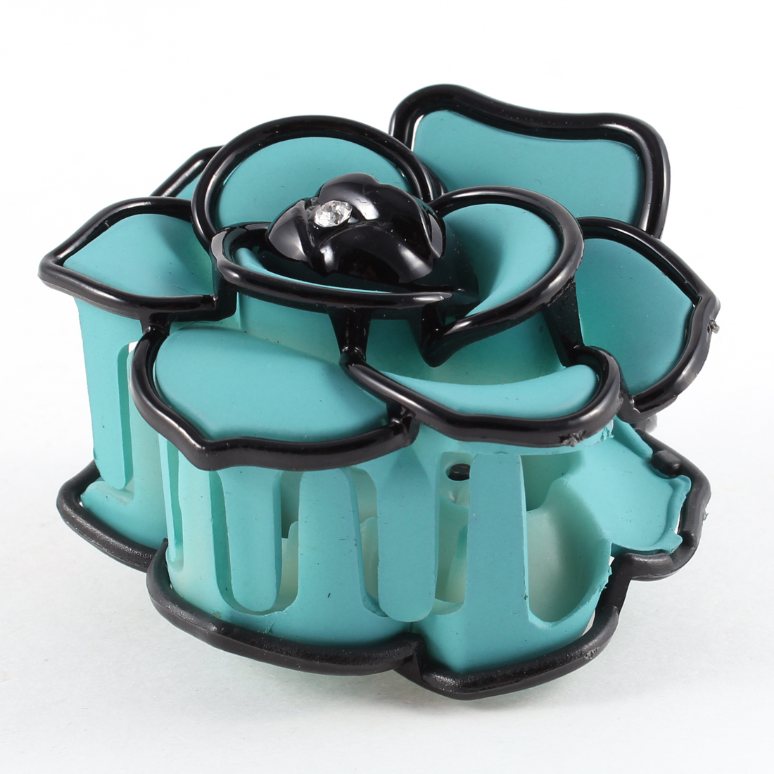 Women Teal Blue Black Rose Floral Plastic Barrette Hair Clip Clamp