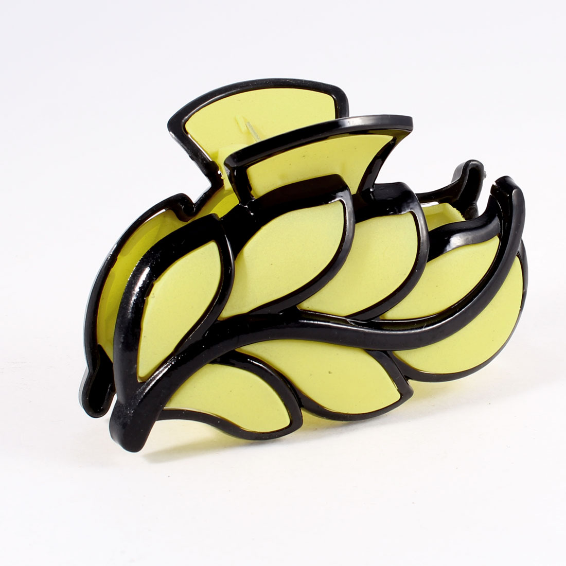 Yellow Black Leaves Shaped Plastic Hairclip Hair Claw Clamp
