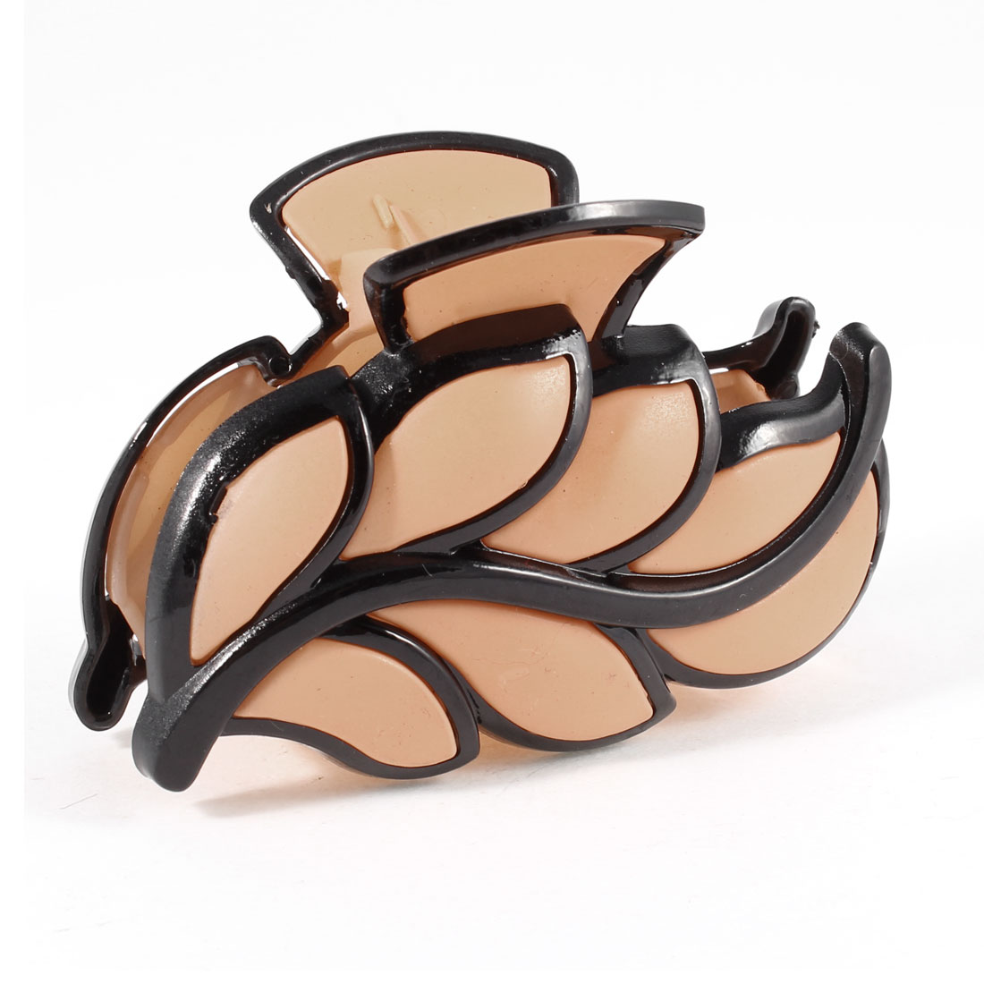 Apricot Color Black Leaves Shaped Plastic Barrette Hair Clip Clamp