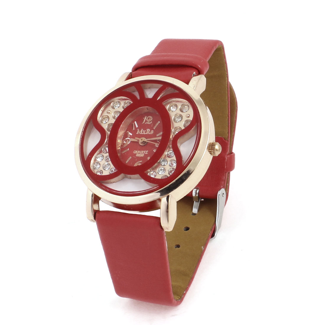 Lady Copper Tone Red Faux Leather Adjustable Wristband Butterfly Shaped Dial Wrist Watch
