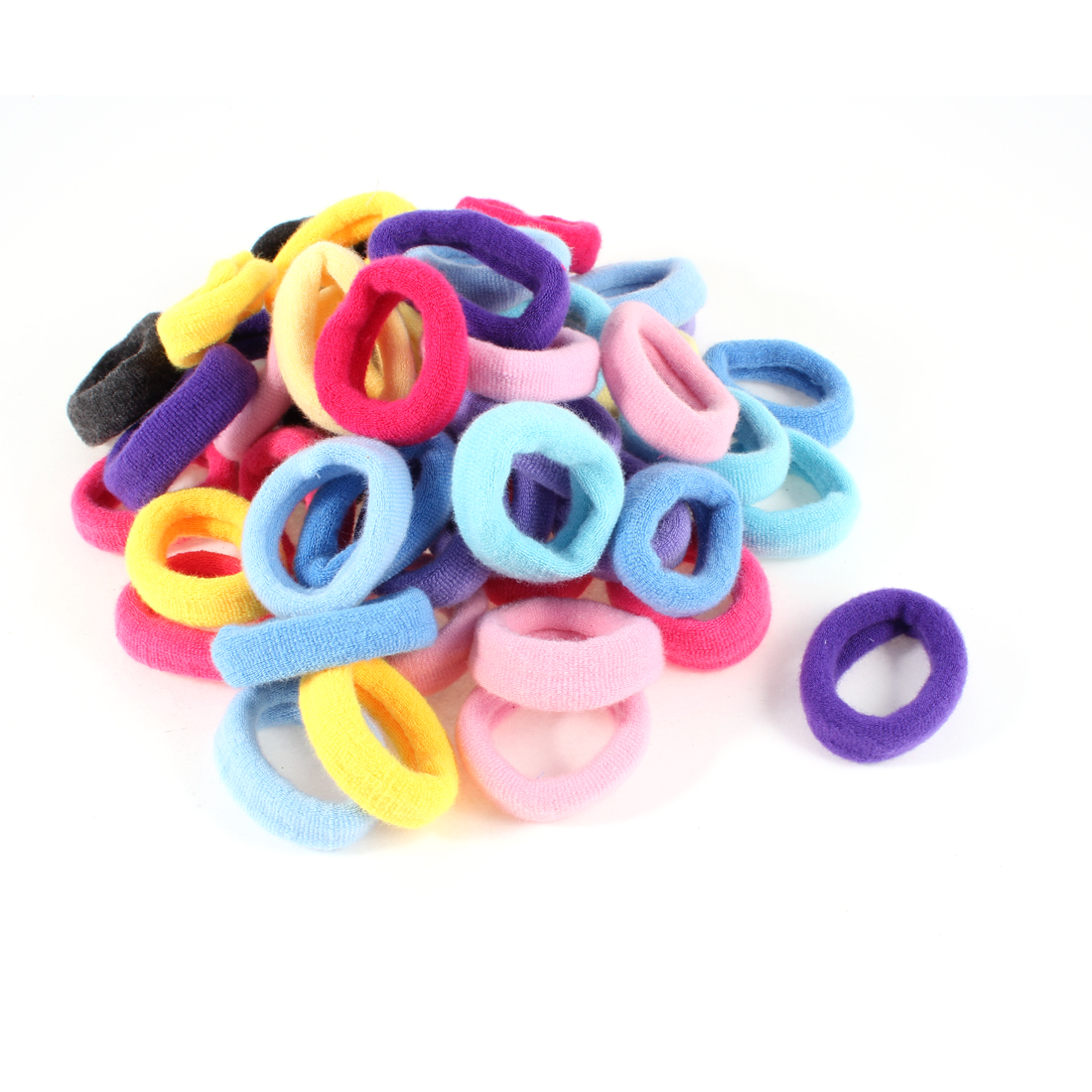 50 Pcs DIY Hairstyle Black Pink Yellow Elastic Hair Ties Ponytail Holder