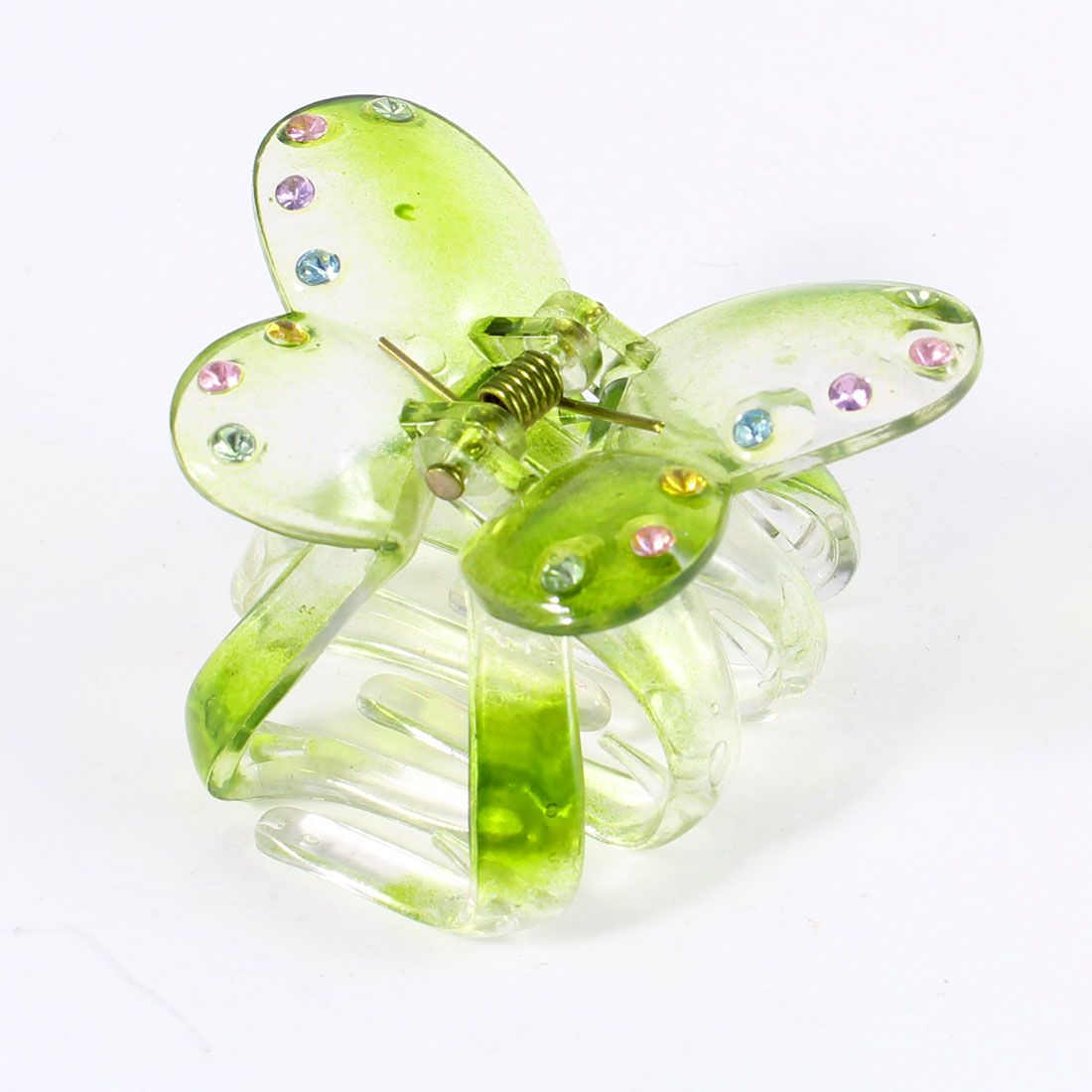 Colorful Rhinestones Decor Plastic Clear Green Butterfly Claw Hair Clip
