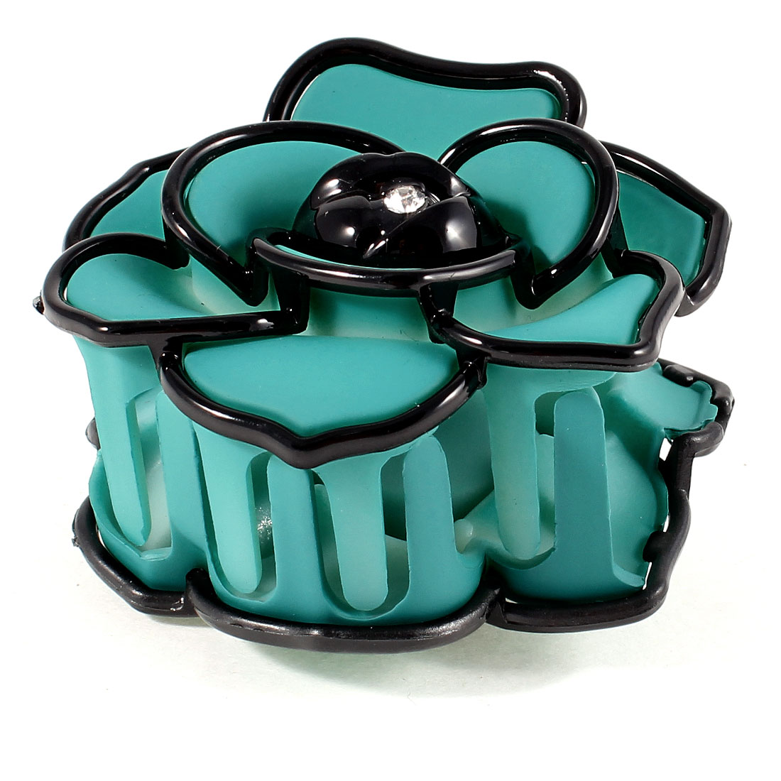 Rhinestone Detail Rose Flower Plastic Barrette Hair Clip Clamp Teal Green