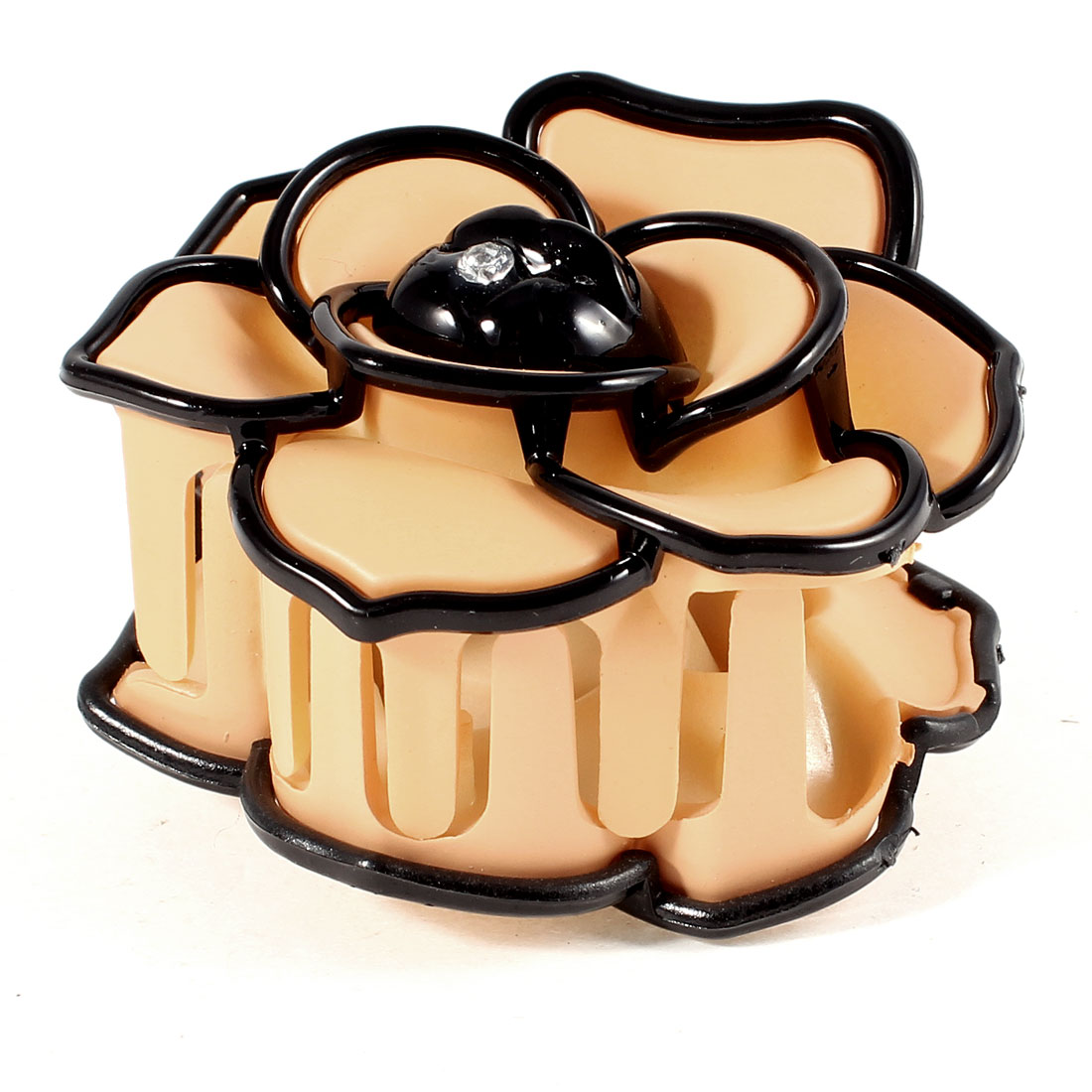 Apricot Color Black Spring Loaded Plastic Teeth Rose Flower Claw Hair Clip