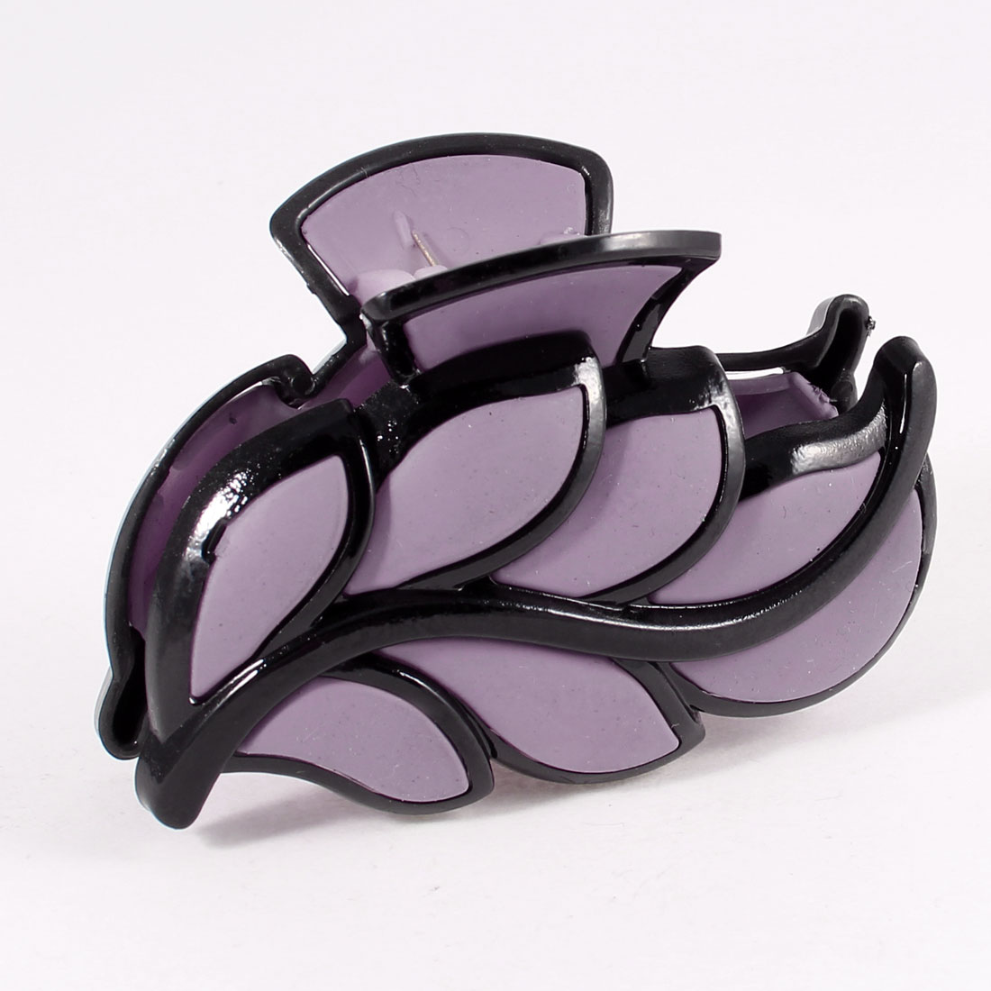 Light Purple Black Leaves Design Plastic Hairclip Hair Clip Claw