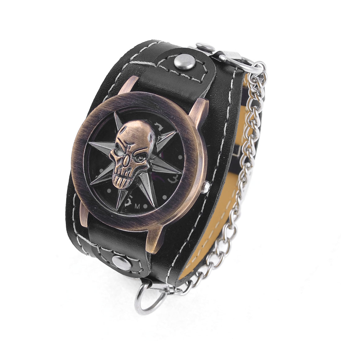 Lady Arabic Number Dial Adjustable Faux Leather Strap Watch Black w Skull Cover