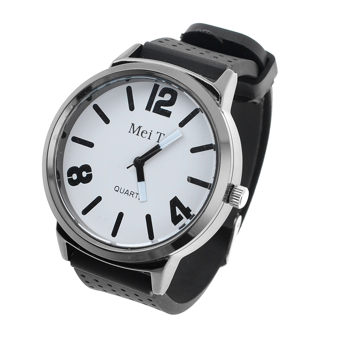 Lady Round Dial Adjustable Plastic Wrist Band Quartz Watch Black White
