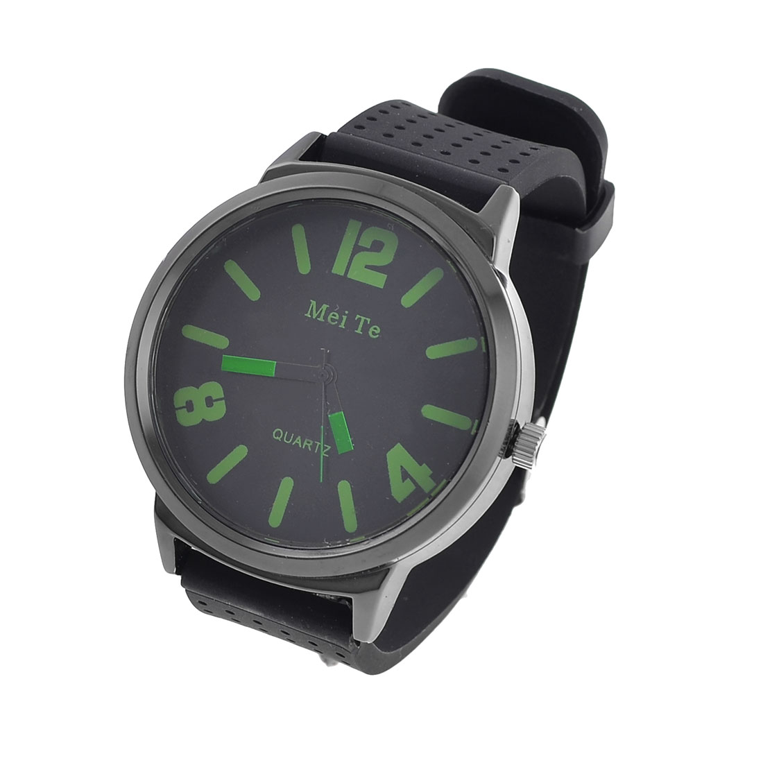 Women Single Pin Adjustable Plastic Wrist Band Quartz Watch Black Green