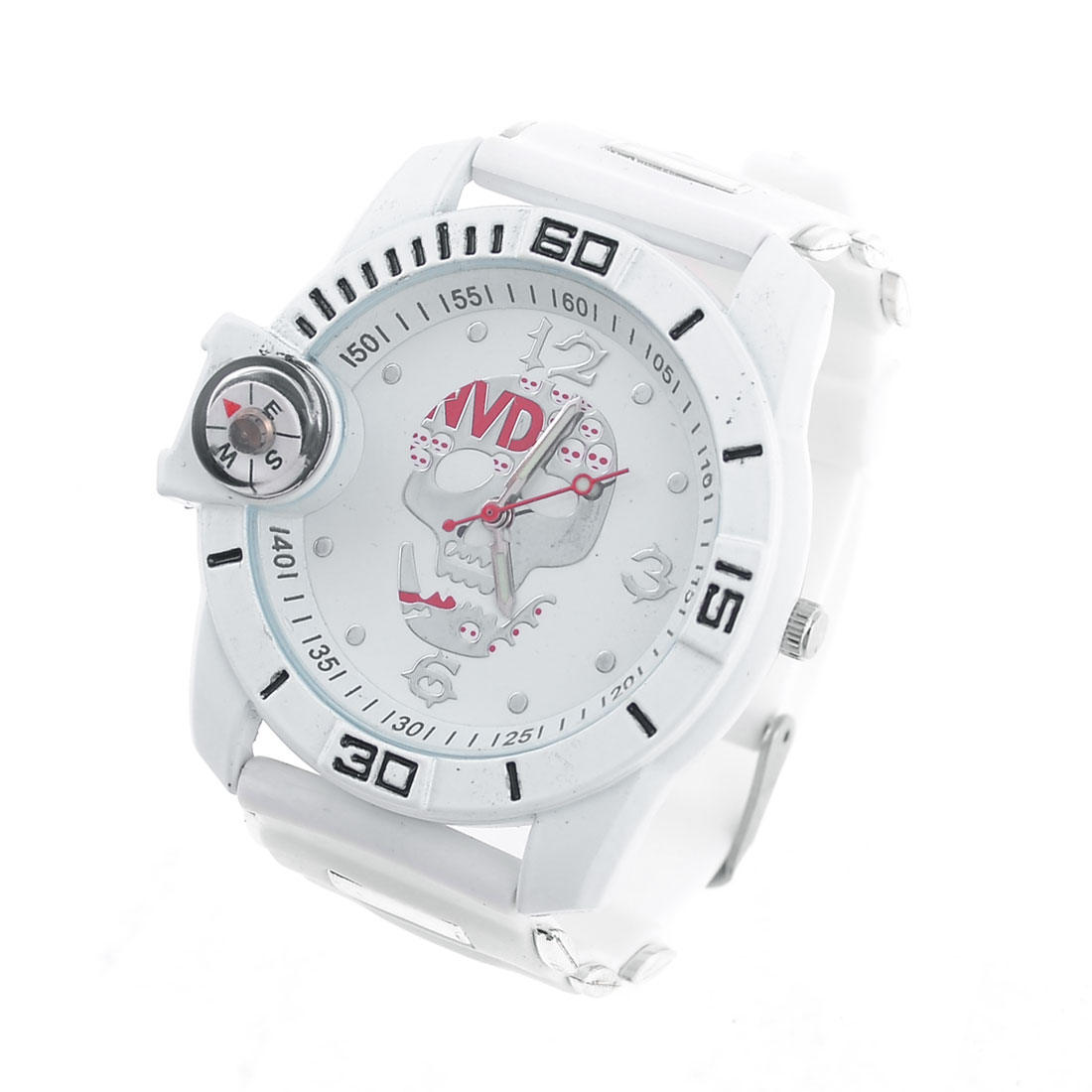Women Lady Single Pin Adjustable Plastic Wrist Band Watch White w Compass