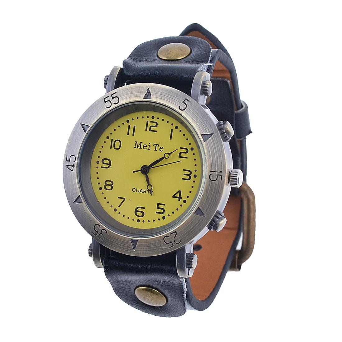 Women Single Pin Adjustable Faux Leather Wrist Band Quartz Watch Black Yellow