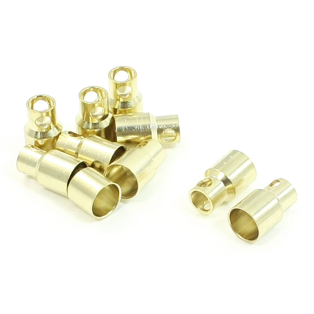 10 PCS 8mm Gold Tone Metal Connector Banana Plug for RC Helicopter