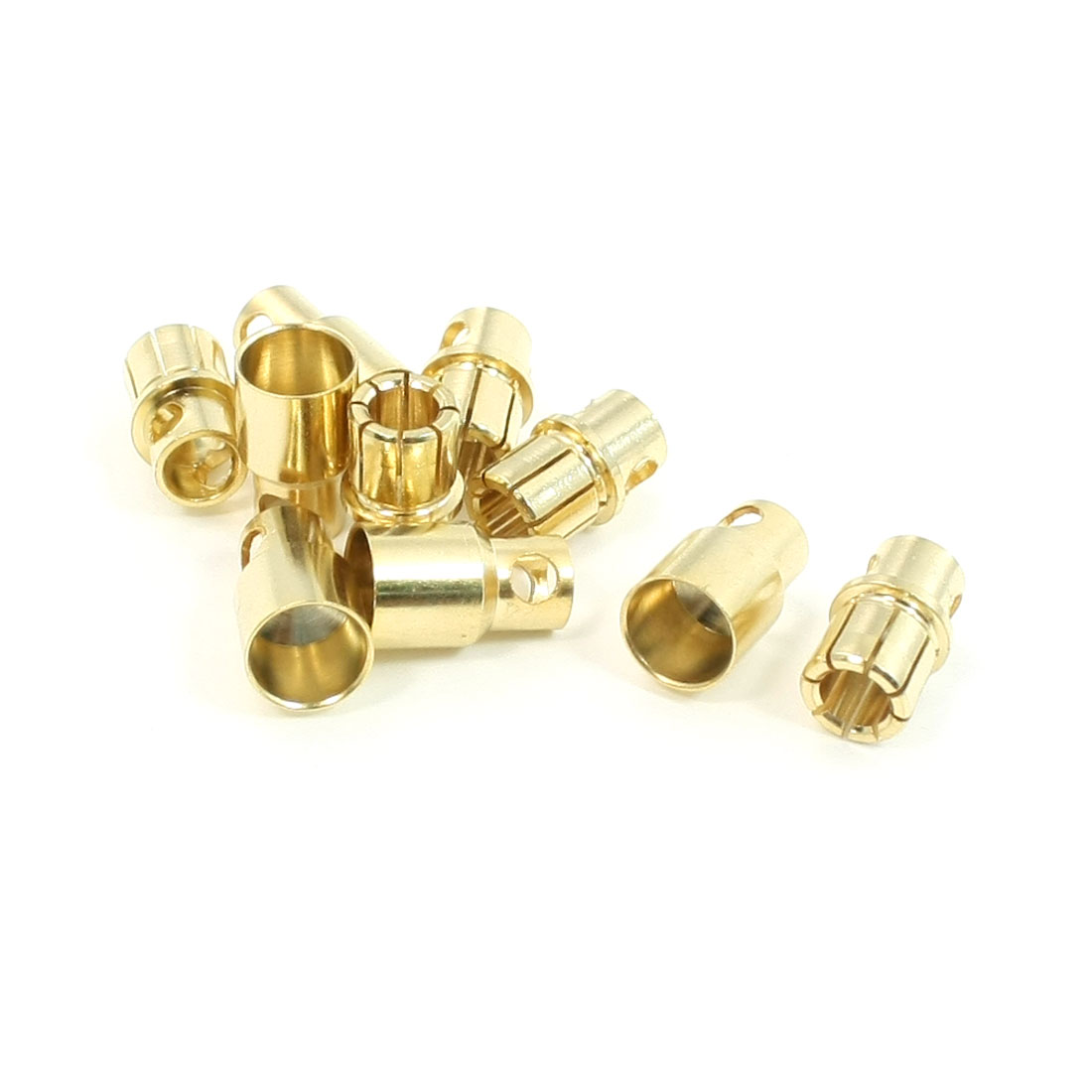 5 Pair 8mm Gold Tone Metal Banana Plug Female Male Connector for RC Helicopter