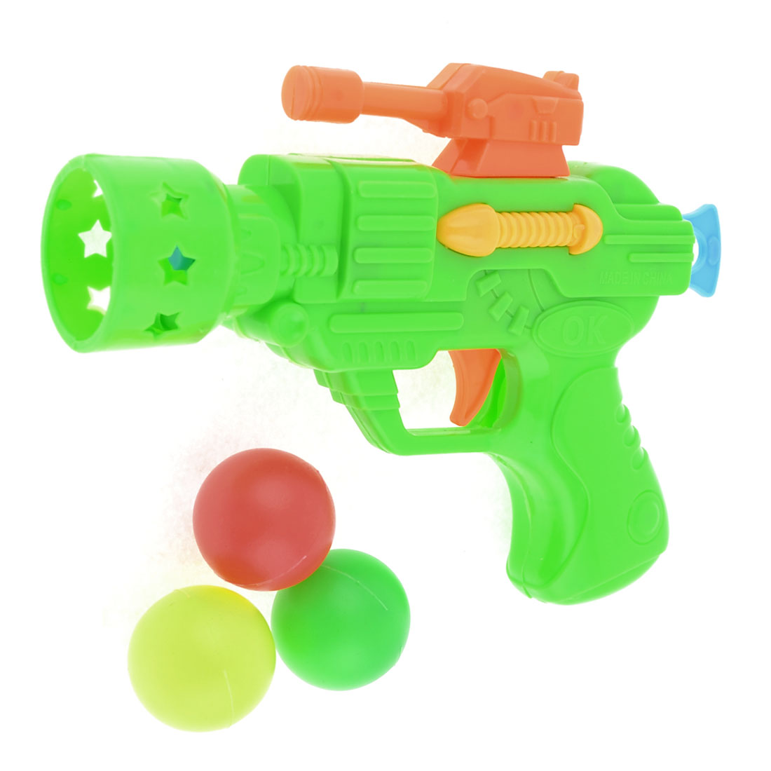 Kids Plastic Green Trigger Design Gun Fight Toy w 3Pcs Table Tennis Balls