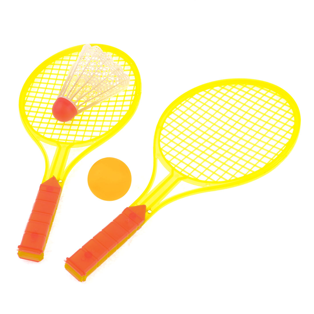 Plastic Nonslip Grip Badminton Rackets Pingpong Shuttlecock Set Yellow