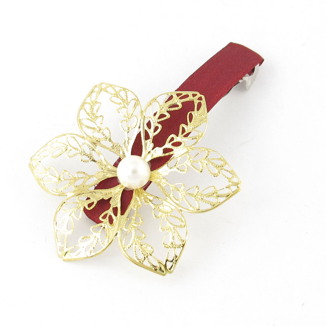 Faux Pearl Decor Gold Tone Flower Design Hairclip Hair Clip Dark Red for Lady