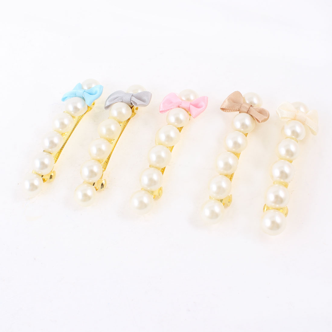 5 Pcs Assorted Color Bowknot White Faux Pearl Barrette Hairpin Hair Clip for Girl