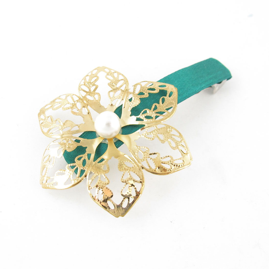 Faux Pearl Decor Gold Tone Flower Design Hairclip Hair Clip Green for Lady