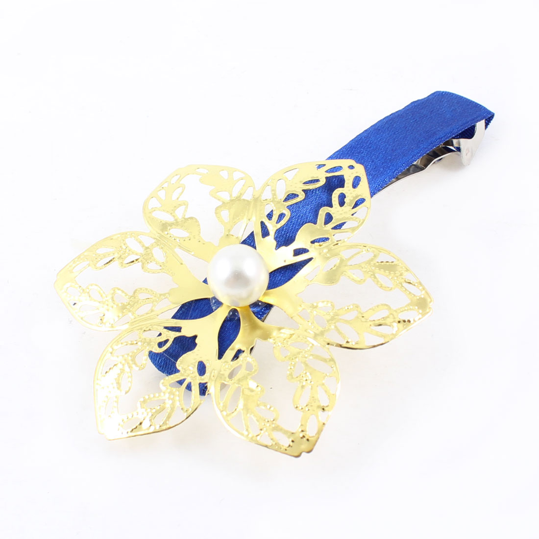 Gold Tone Hollow Out Flower Dodger Blue Polyester Coated Hair Clip for Ladies