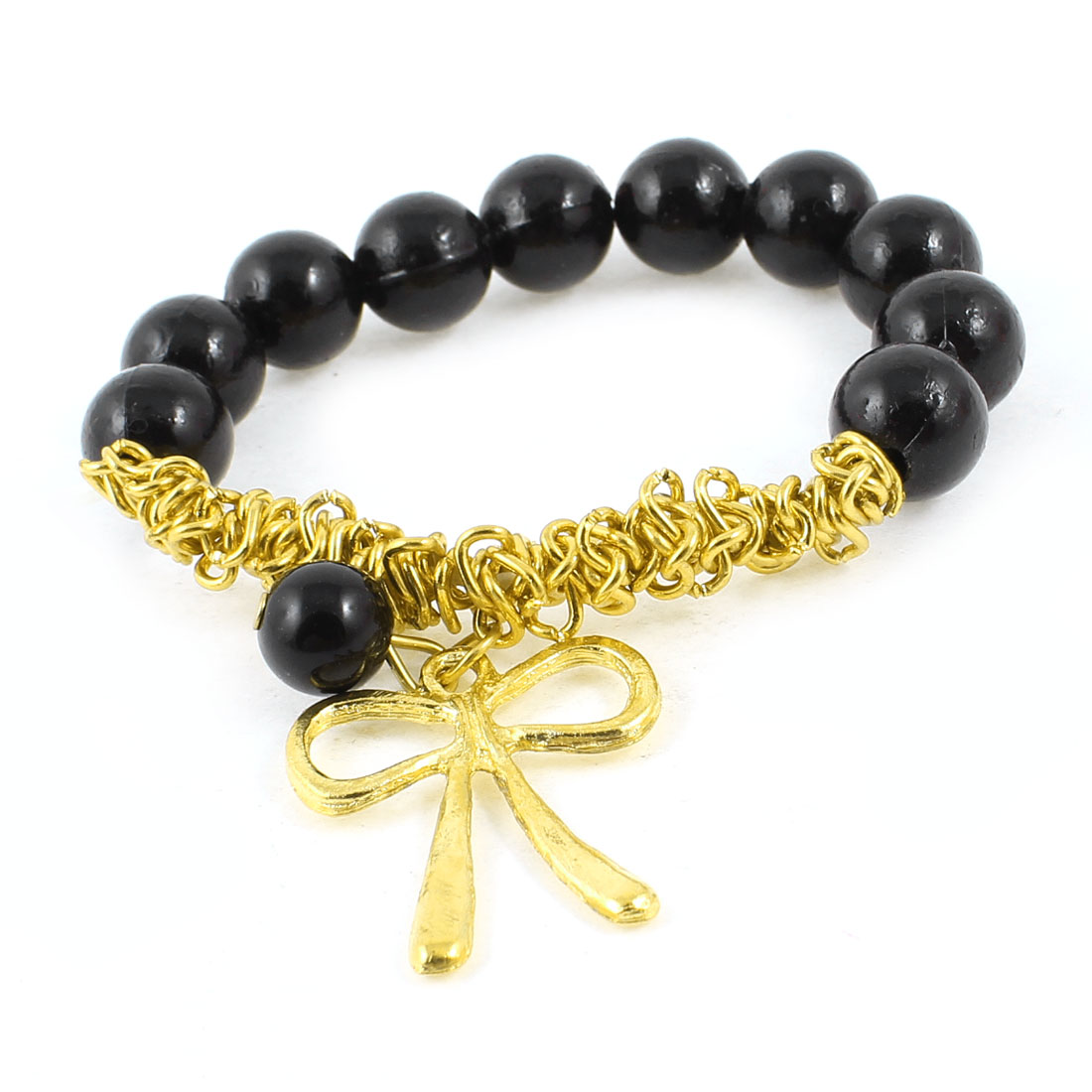 Gold Tone Bowknot Ornament Black Faux Pearl Elastic Charm Bracelet for Woman Girl