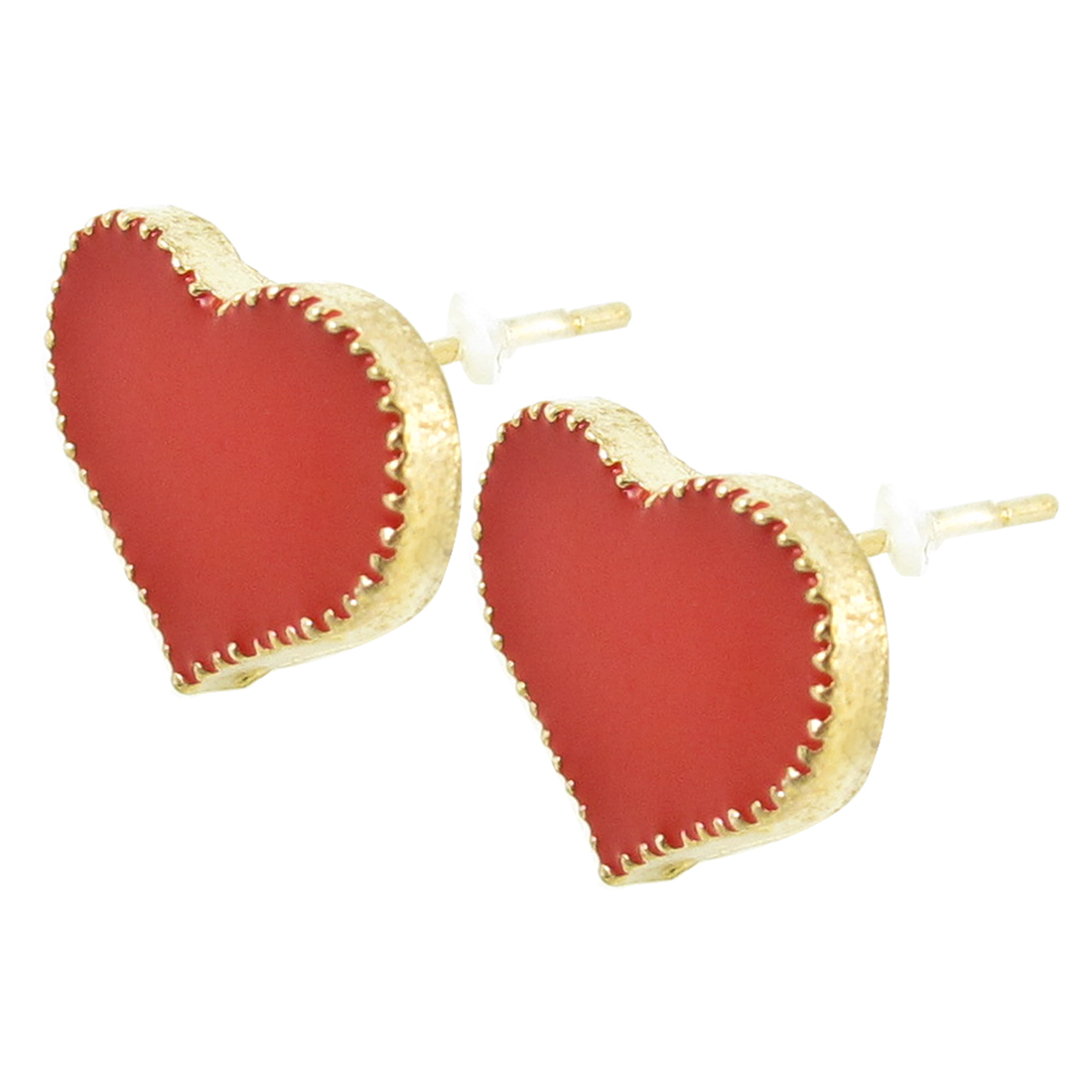 Pair Red Gold Tone Heart Design Earring Stud for Ladies