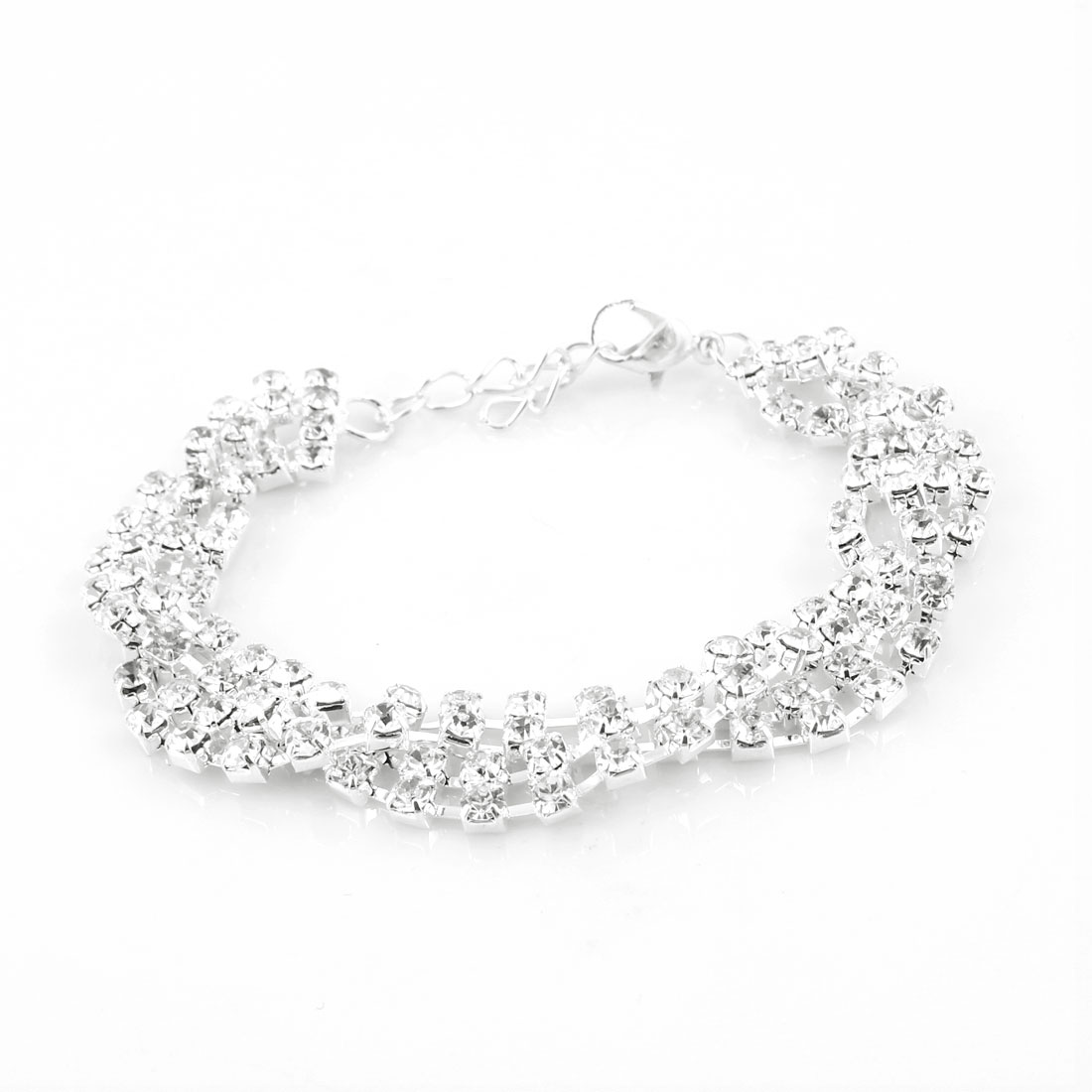Lady Bling Rhinestones Chain Lobster Clasp Wrist Bracelet Bangle Silver Tone