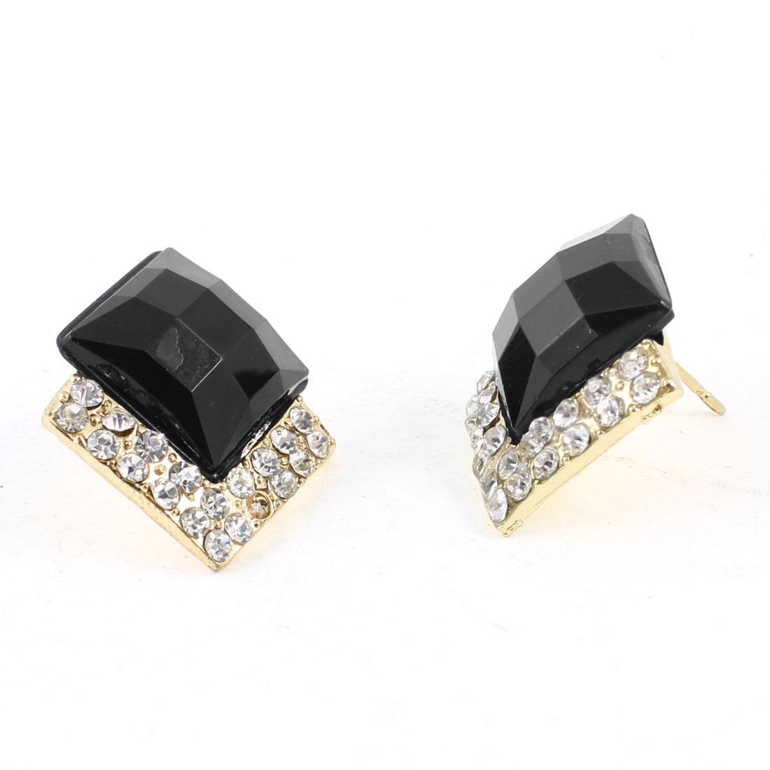Woman Rhinestone Inlaid Black Square Bead Ornament Ear Nail Stud Earrings Pair