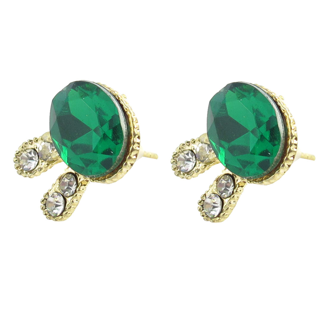 Pair Green Faux Crystal Inlaid Rabbit Design Earring Studs for Ladies