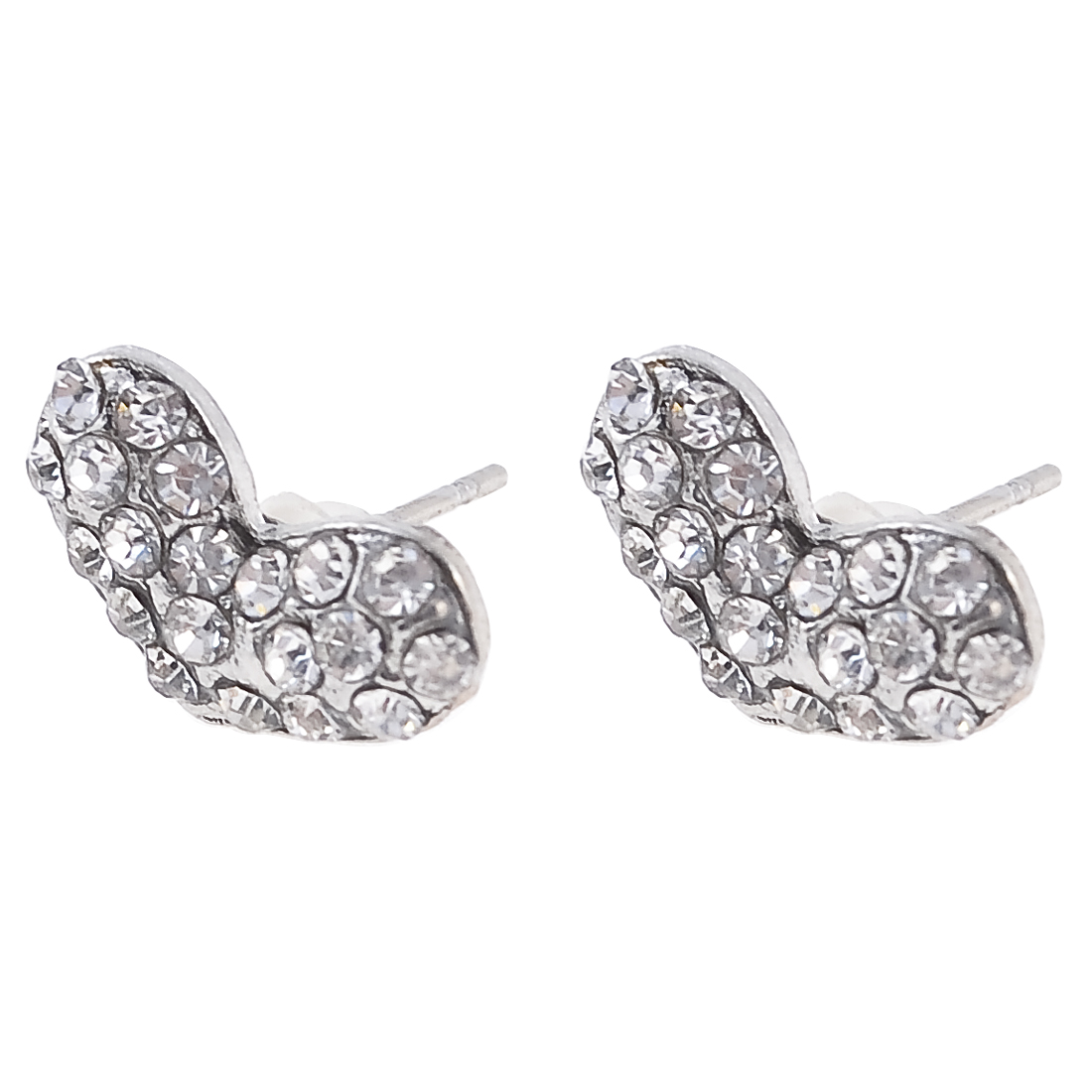 2 Pcs Rhinestone Inlaid Heart Shape Ear Stud Earrings Silver Tone for Women