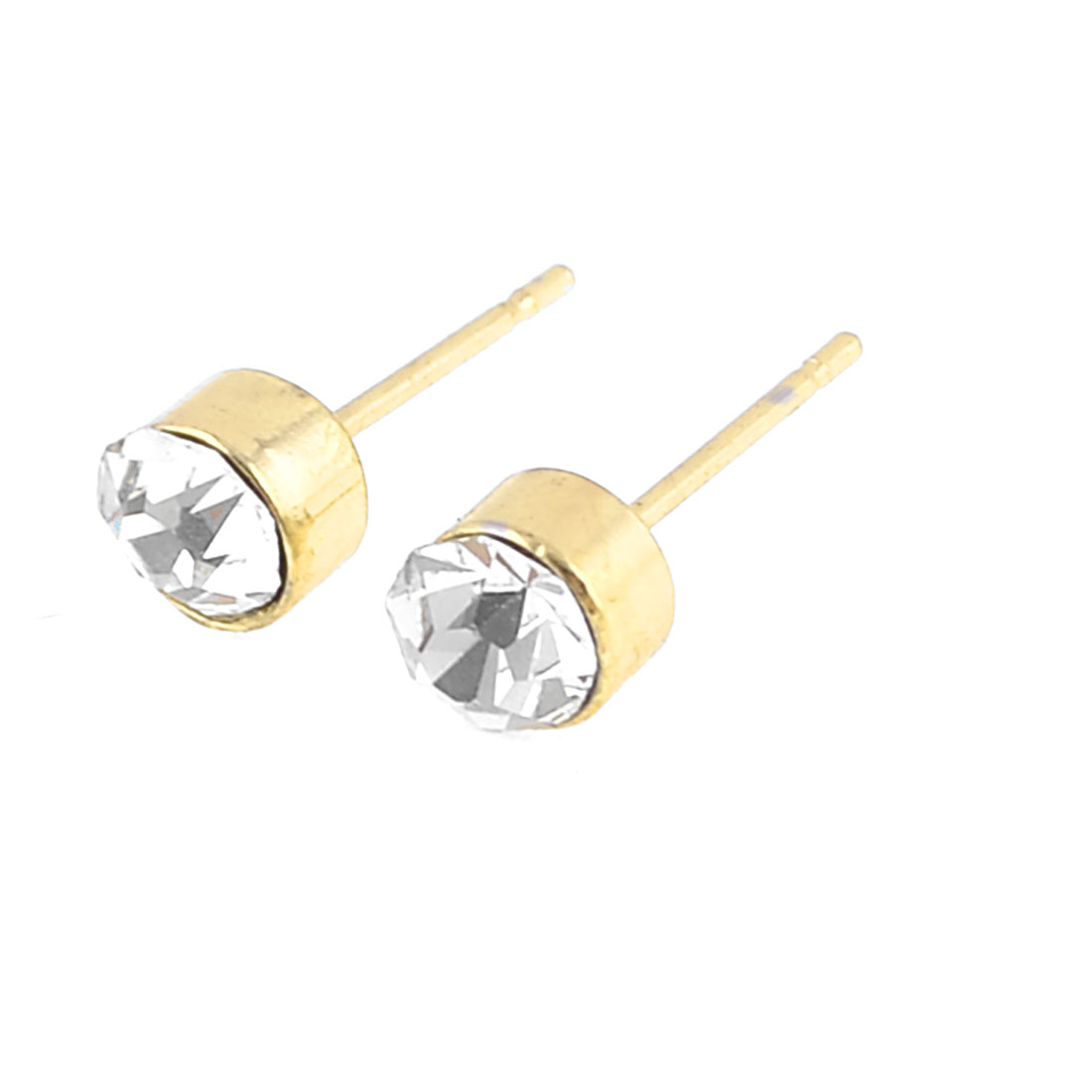 Pair Clear Rhinestone Stud Earrings Ornament Gold Tone for Ladies Woman