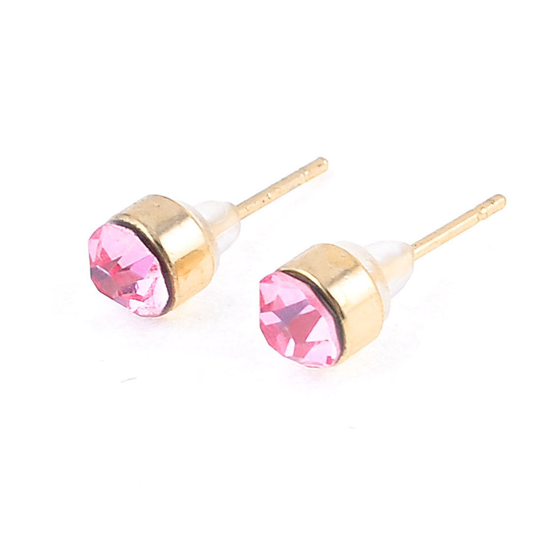 Lady Pink Sparkling Rhinestone Accent Ear Nail Pin Stud Earrings Pair