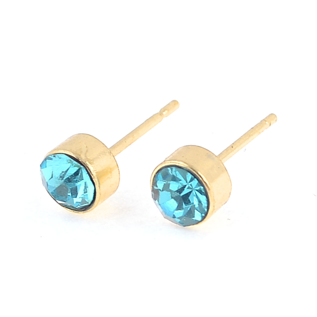 Women Ear Ornament Lignt Blue Glittery Rhinestone Accent Stud Earrings Pair