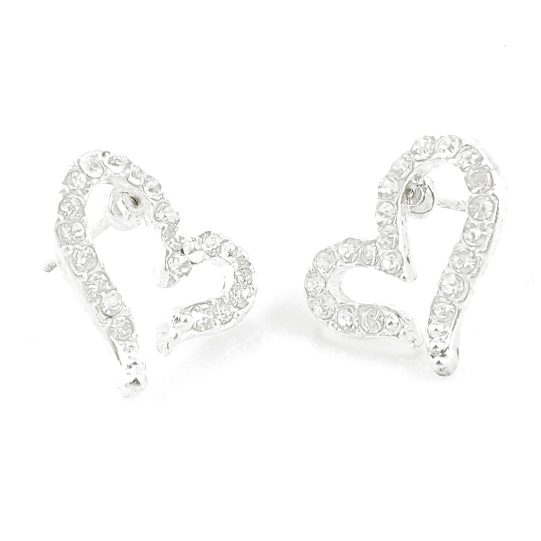 Ladies Rhinestone Silver Tone Heart Shaped Ear Stud Earrings Eardrops Pair
