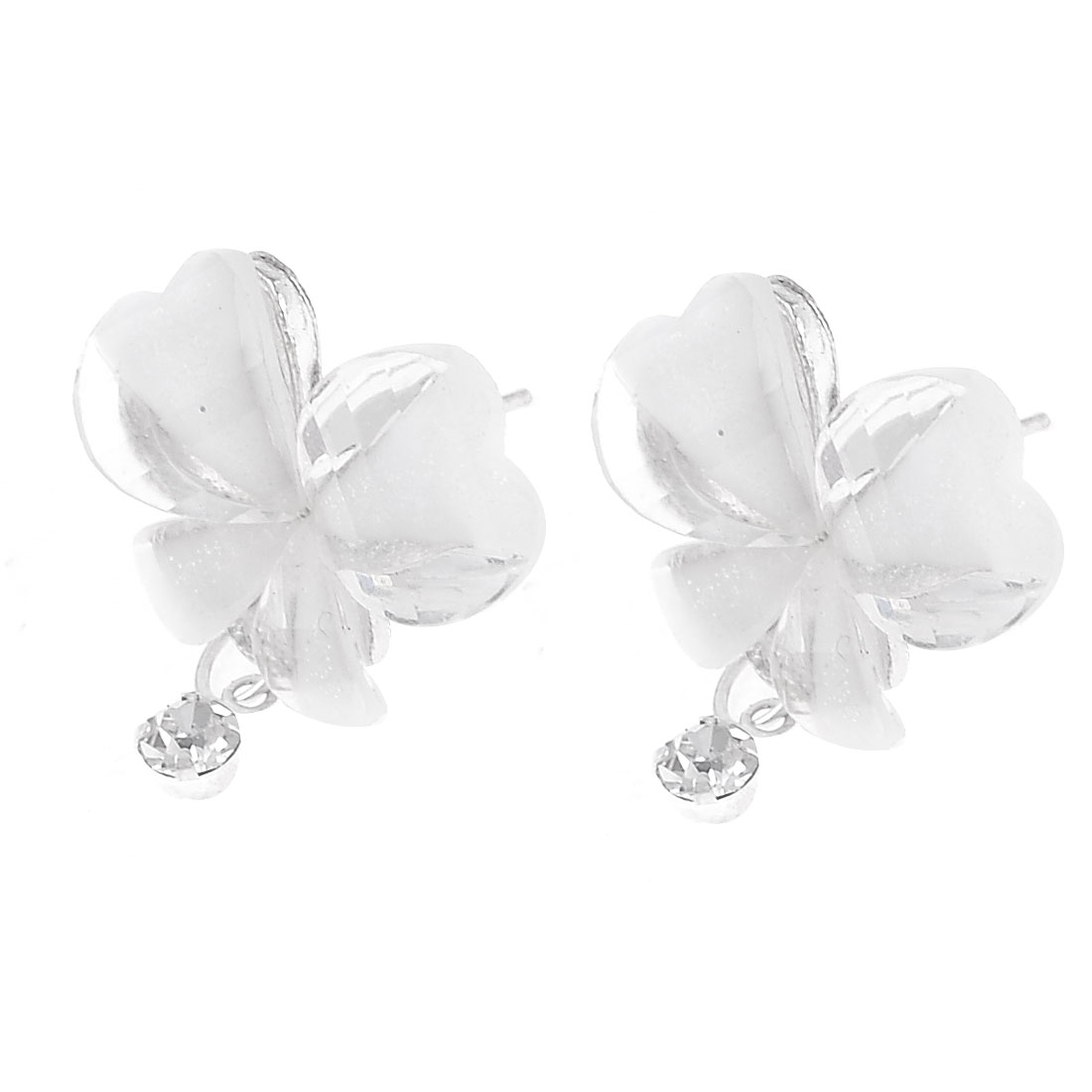 Pair Clear Flower Decor Metal Stud Bobs Earrings for Ladies