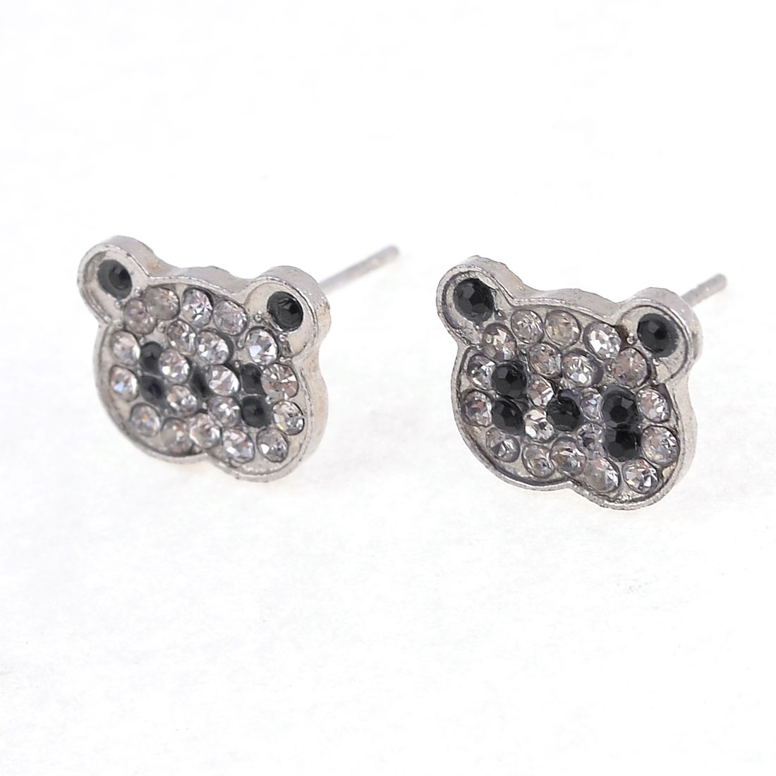 Lady Ear Ornament Rhinestone Inlaid Bear Stud Earrings Silver Tone 2Pcs