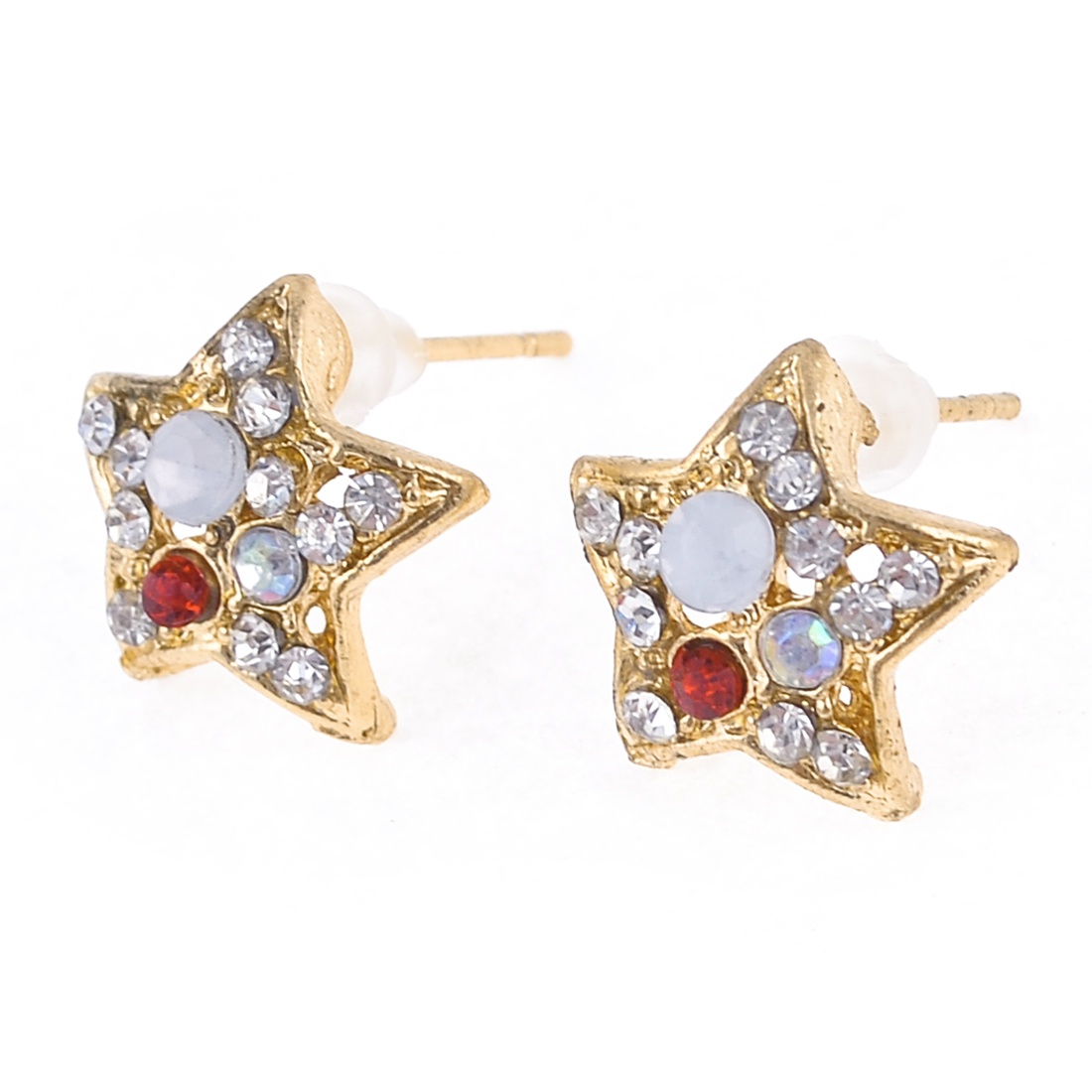 Lady Ear Ornament Shiny Star Design Stud Earrings Gold Tone White 2Pcs