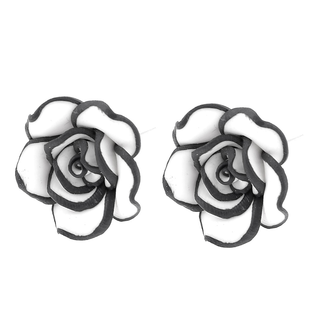 Woman Pair White Black Plastic Rose Stud Earbobs Earrings