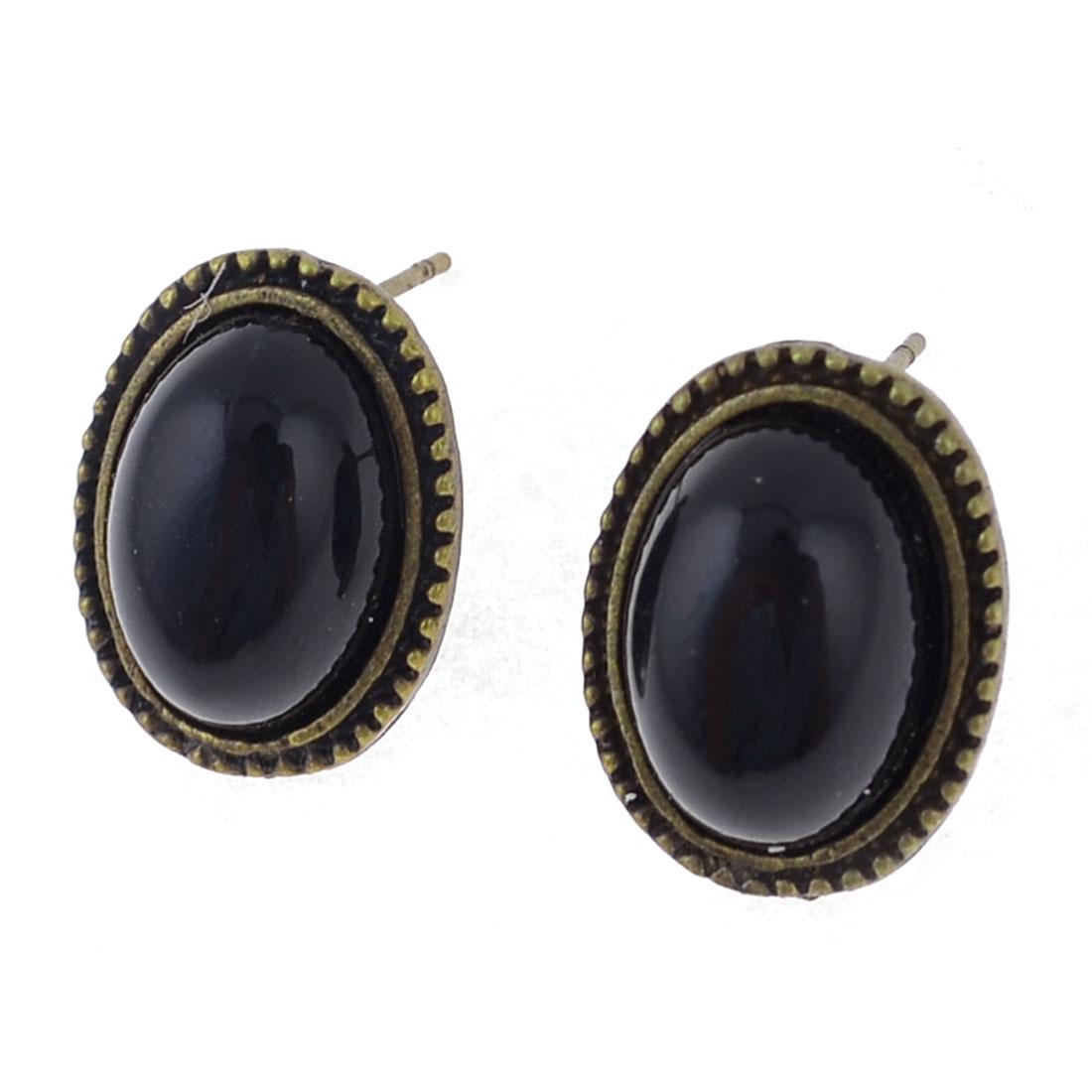 2 Pcs Vintage Style Oval Ear Decor Stud Earrings Black for Women