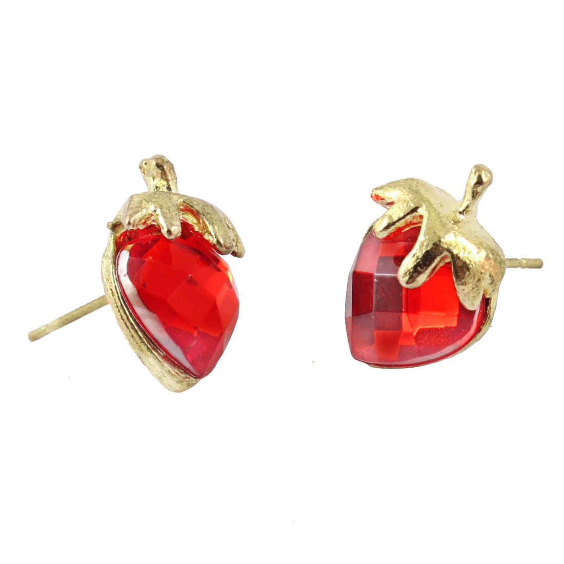 Lady Red Faux Crystal Strawberry Shape Pierced Stud Earrings Pair