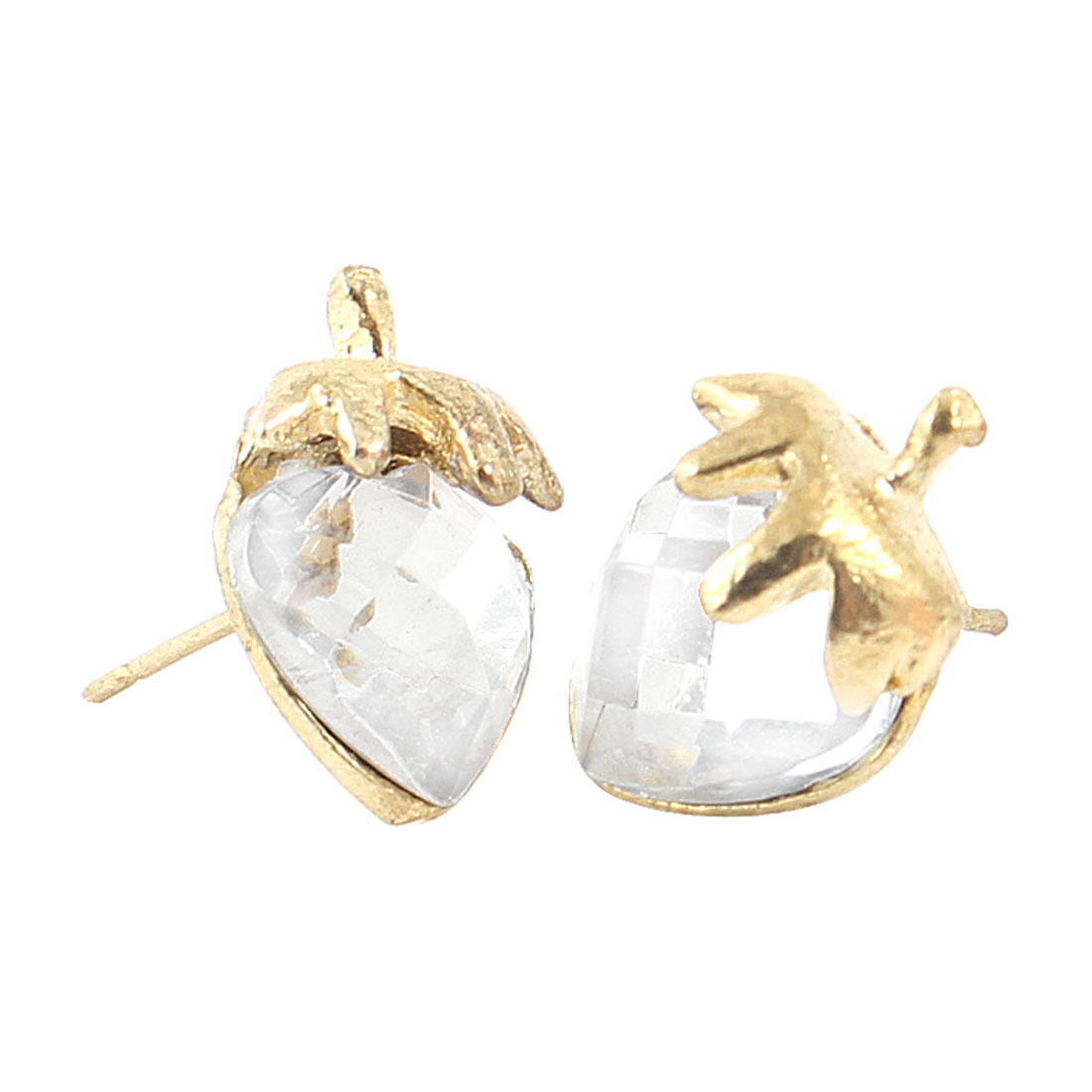 Lady White Plastic Crystal Strawberry Shape Pierced Stud Earrings Pair