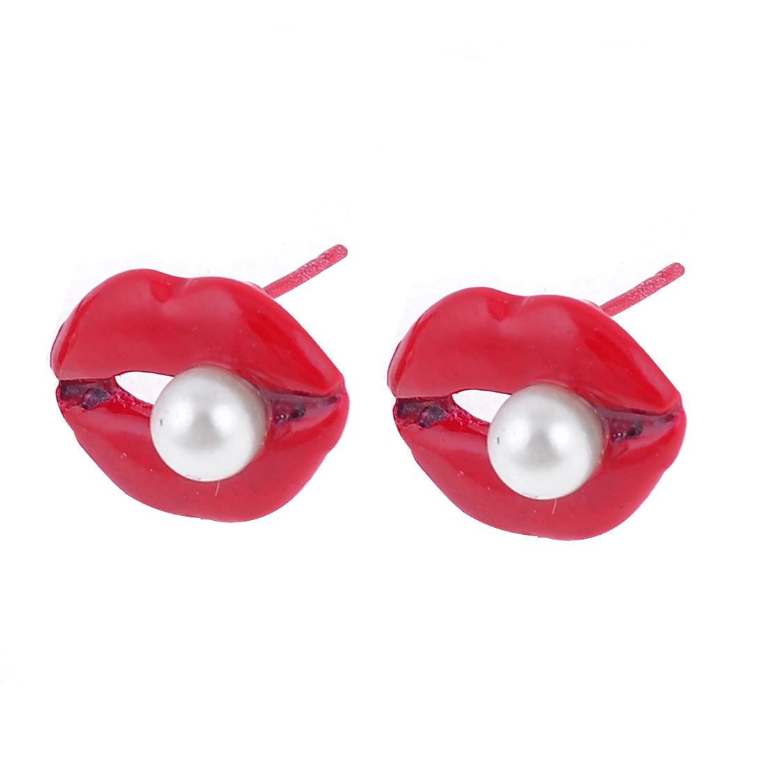 Lady Ear Ornament Imitation Pearl Inlaid Lip Design Stud Earrings Red 2Pcs
