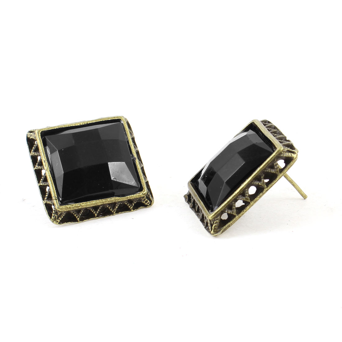 Pair Hollow Out Brim Black Square Crystal Inlaid Stud Earrings for Women