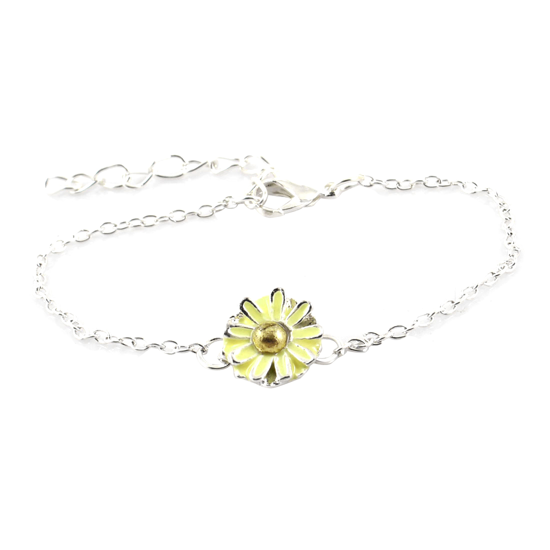 Yellow Daisy Ornament Silver Tone Metal Chain Lobster Clasp Wrist Bracelet